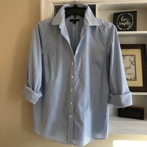 Land's End blue striped no iron pinpoint oxford 10
